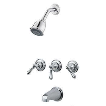 Pfister 01-81BC 01 Series Three Metal Lever Handle Tub/Shower Trim - Chrome