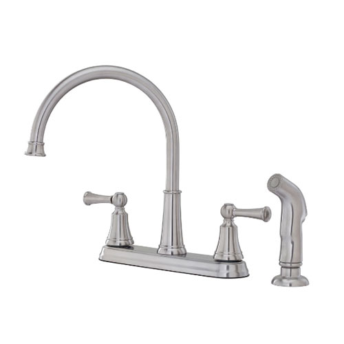 Pfister F-036-4SVS Bremerton Two Handle Kitchen Faucet with Sidespray - Stainless Steel