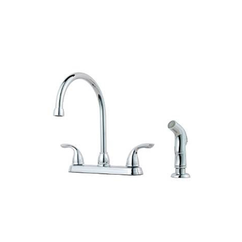 Pfister G136-5000 Pfirst Series Two Handle Kitchen Faucet with Side Spray - Chrome