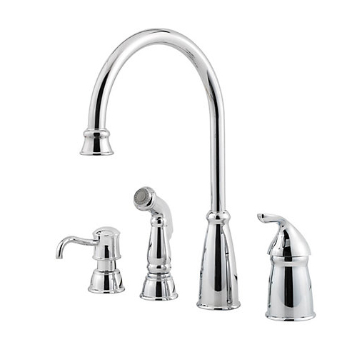 Pfister GT26-4CBC Avalon Single Handle Kitchen Faucet with Matching Side Spray and Soap Dispenser Chrome