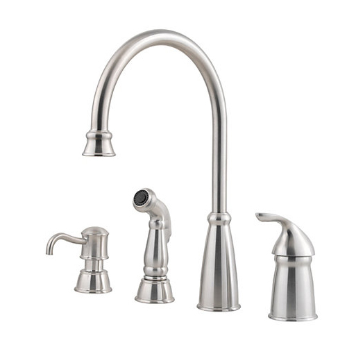 Pfister GT26-4CBS Avalon Single Handle Kitchen Faucet with Matching Side Spray and Soap Dispenser Stainless Steel
