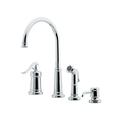 4 Hole Single Control Kitchen Faucet : Pfister gt ypc ashfield hole kitchen faucet with sidespray and matching soap dispenser