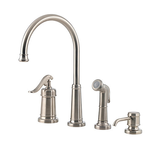 4 Hole Single Control Kitchen Faucet : Pfister gt ypk ashfield hole kitchen faucet with sidespray and matching soap dispenser