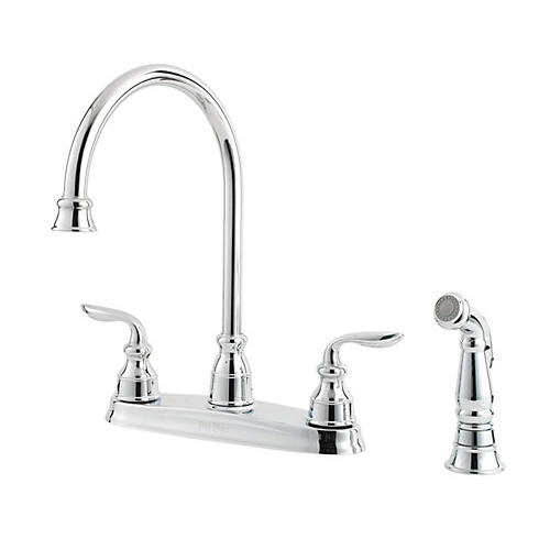 Pfister GT36-4CBC Avalon Two Handle Kitchen Faucet with Matching Sidespray Chrome