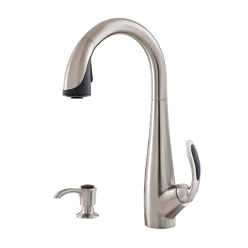 Pfister GT529-NIS Nia Single Handle Pulldown Kitchen Faucet - Stainless Steel/Black