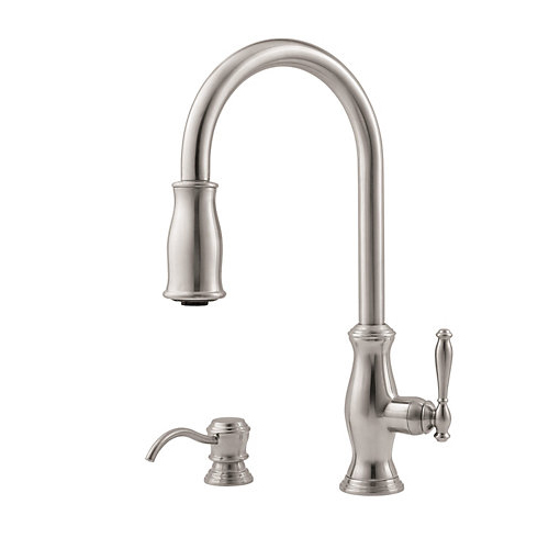 Pfister GT529-TMS Hanover Single Handle Pull-Down Kitchen Faucet with Soap Dispenser - Stainless Steel