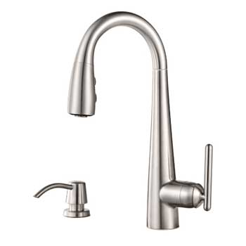 Pfister GT72-SMSS Lita Single Handle Pulldown Bar Faucet with Soap Dispenser - Stainless Steel