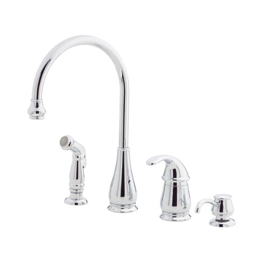 pfister lg26 4dcc treviso single handle kitchen faucet with side