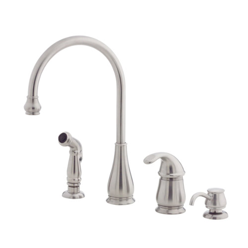 pfister lg264dss treviso single handle kitchen faucet with side spray and soap dispenser