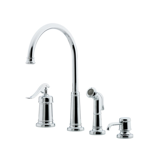 Pfister Lg26 4ypc Ashfield 4 Hole Kitchen Faucet With Sidespray And Matching Soap Dispenser Chrome