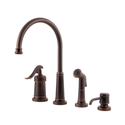 4 Hole Single Control Kitchen Faucet : Pfister lg ypu ashfield hole kitchen faucet with sidespray and matching soap dispenser