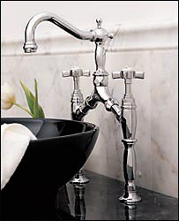 Porcher 5535.504.295 Reprise Bridge Lavatory Faucet Brushed Nickel (Pictured in Polished Chrome)