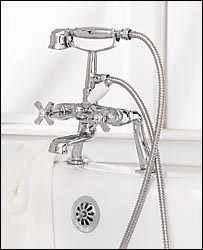 Porcher 5636901.295 Palace Deck Mount Tub Filler with Hand Held Shower Brushed Nickel (Pictured in Polished Chrome)
