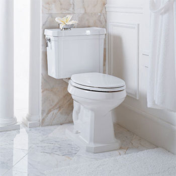 Porcher 90162-00.001 Lutezia Elongated Water Closet Toilet with Polished Brass Trip Lever - White (Pictured with Chrome Trip Lever)