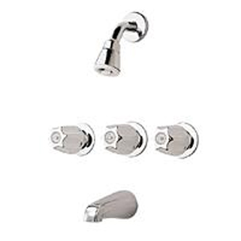 Price Pfister 01-112 Bedford Three Handle Tub/Shower Faucet with Classic Metal Handles Chrome