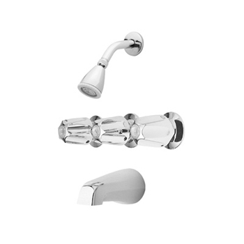 Price Pfister 01-312 Bedford Three Handle Tub/Shower Faucet with Classic Metal Handles Chrome