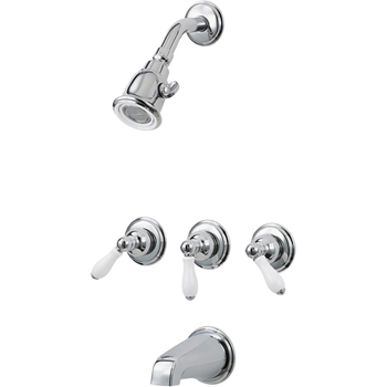 Price Pfister 01-81PC Savannah Three Porcelain Lever Handle Tub/Shower Trim Chrome