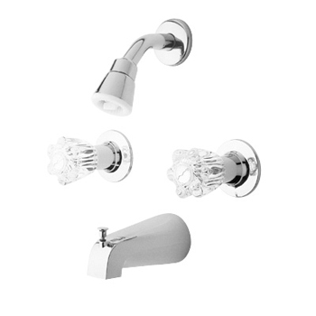 price pfister bedford two handle tubshower faucet with acrylic windsor handles chrome