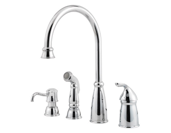 Price Pfister GT26-4CBC Avalon Single Handle Kitchen Faucet with Matching Side Spray and Soap Dispenser Chrome