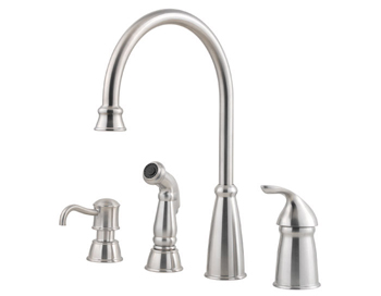 Price Pfister GT26-4CBS Avalon Single Handle Kitchen Faucet with Matching Side Spray and Soap Dispenser Stainless Steel