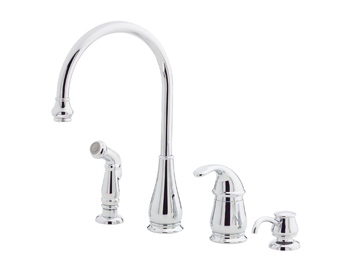 Price Pfister GT26-4DCC Treviso Single Handle Kitchen Faucet with Side Spray and Soap Dispenser Chrome