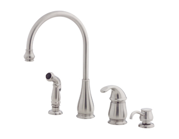 Price Pfister GT26-4DSS Treviso Single Handle Kitchen Faucet with Side Spray and Soap Dispenser Stainless Steel