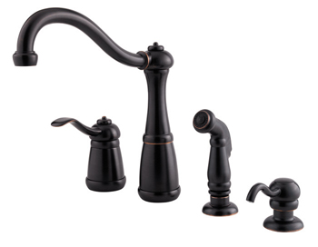Price Pfister GT26-4NYY Marielle Single Control Kitchen Faucet with Sidespray & Soap Dispenser Tuscan Bronze