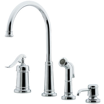 Price Pfister GT26-4YPC Ashfield 4-Hole Kitchen Faucet with Sidespray and Matching Soap Dispenser Chrome