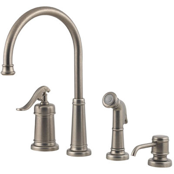Price Pfister T26-4YPE Ashfield 4-Hole Kitchen Faucet with Sidespray and Matching Soap Dispenser Rustic Pewter