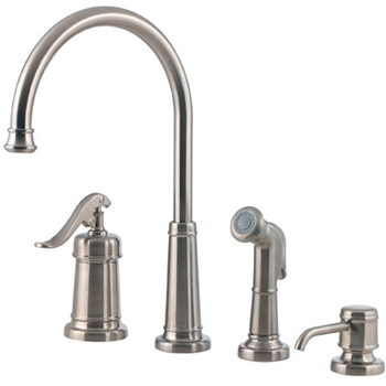 Price Pfister GT26-4YPK Ashfield 4-Hole Kitchen Faucet with Sidespray and Matching Soap Dispenser Brushed Nickel