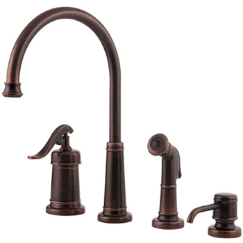 Price Pfister GT26-4YPU Ashfield 4-Hole Kitchen Faucet with Sidespray and Matching Soap Dispenser Rustic Bronze