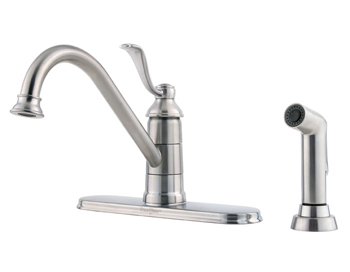 Price Pfister GT34-4PS0 Portland Single Handle Kitchen Faucet with Sidespray Stainless Steel