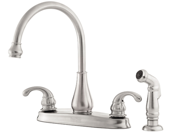 Price Pfister 36-4DSS Treviso Two Handle Deckmount Kitchen Faucet with Sidespray Stainless Steel