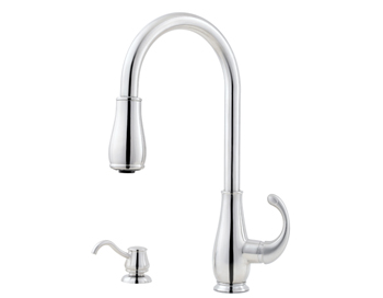 Price Pfister GT529-DCC Treviso Single Handle Pull-Down Kitchen Faucet with Soap Dispenser Chrome