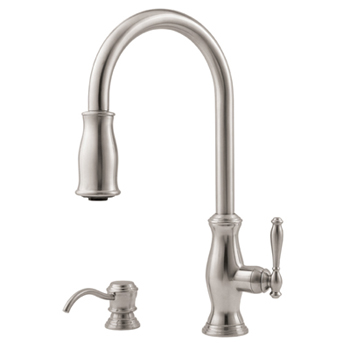 Price Pfister GT529-TMS Hanover Single Handle Pull-Down Kitchen Faucet with Soap Dispenser - Stainless Steel