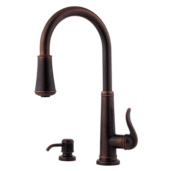 Price Pfister GT529-YPU Ashfield Single Handle Pull-Down Kitchen Faucet with Soap Dispenser - Rustic Bronze