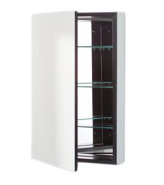Robern PLM1630BC PL Series Cabinet Black Interior with Flat Mirrored Door - Black