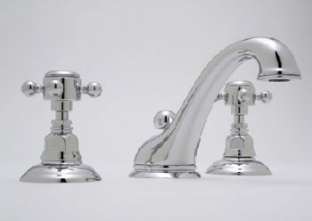 Rohl A1408LM-2IB Country Bath Widespread Lavatory Faucet w/Two Metal Lever Handles - Inca Brass (Pictured in Polished Chrome w/Cross Handles)
