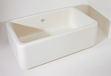 Rohl RC3018BS Shaws Original Single-Bowl Fireclay Apron Kitchen Sink - Biscuit (Pictured in White)