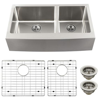Schon SCAPL604016 Luxury Large 16 Gauge 60/40 Double Bowl Apron Front Kitchen Sink - Stainless Steel