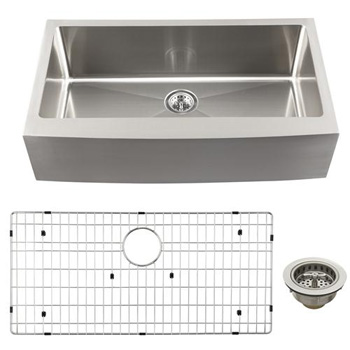 Schon SCAPLG16 Luxury Large 16 Gauge Single Bowl Apron Front Kitchen Sink - Stainless Steel