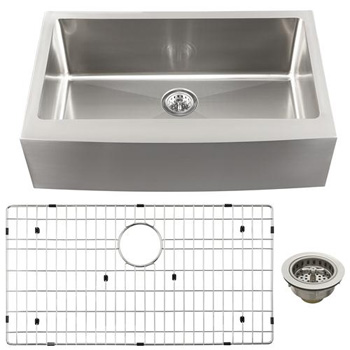 Schon SCAPS16 Luxury 16 Gauge Single Bowl Apron Front Kitchen Sink - Stainless Steel