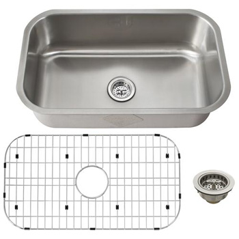 Schon SCSB301818 Premium 18 Gauge Single Bowl Kitchen Sink - Stainless Steel