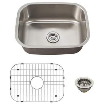Schon SCSBL18 Premium 18 Gauge Single Bowl Undermount Utility Sink - Stainless Steel