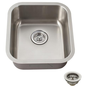 Schon SCSBMB18 Premium Medium 18 Gauge Single Bowl Undermount Bar Sink - Stainless Steel