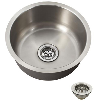 Schon SCSBR18 Premium 18 Gauge Round Undermount Bar Sink - Stainless Steel
