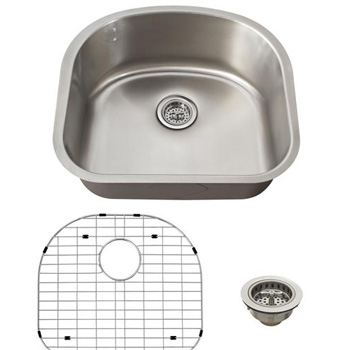 Schon SCSDB18 Premium 18 Gauge D-Shaped Undermount Utility Sink - Stainless Steel