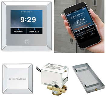 Steamist CP450-BN Total Sense 240 Volt Control Package w/ Contemporary Trim - Brushed Nickel (Pictured in Polished Chrome)