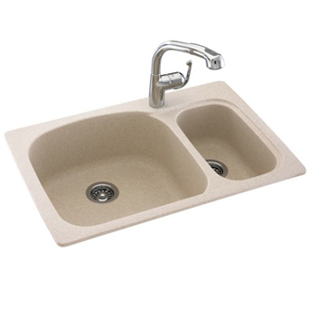 Swanstone KSLS-3322-018 Double Bowl Kitchen Sink - Bisque (Pictured in Tahiti Sand)