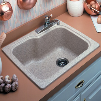 Swanstone KSSB-2522-015 Single Bowl Kitchen Sink - Black Galaxy ( Pictured in Tahiti Sand )